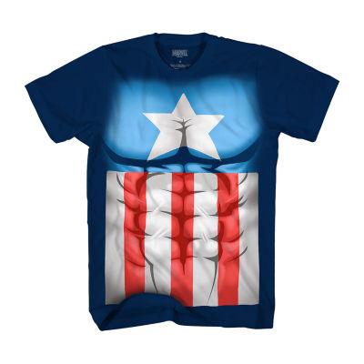 Short Sleeve Crew Neck Captain America T-Shirt Boys
