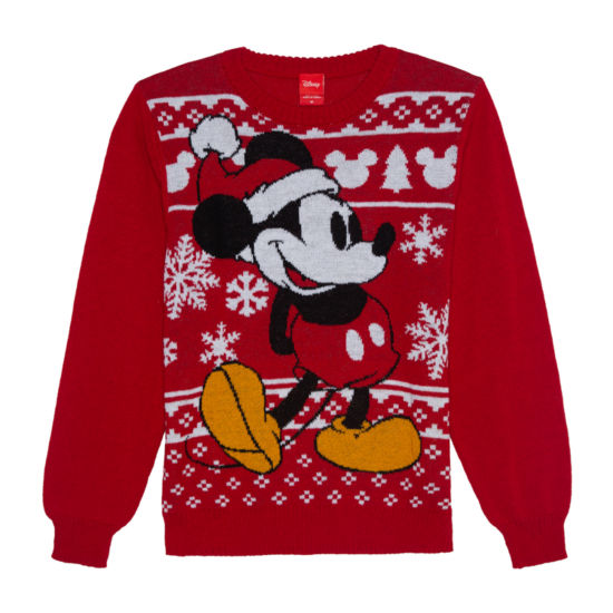 Christmas Crew Neck Long Sleeve Mickey Mouse Pullover Sweater