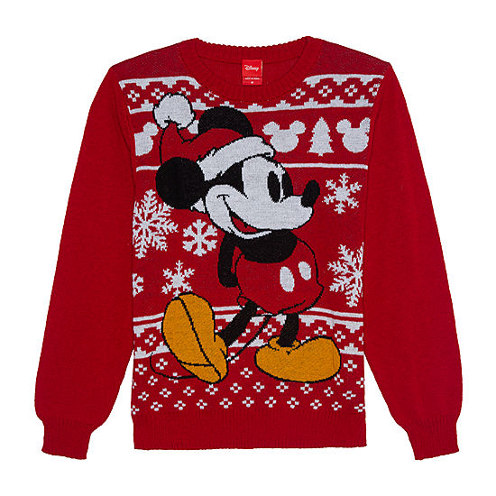 christmas crew neck long sleeve mickey mouse pullover sweater - Mickey Mouse Christmas Sweater