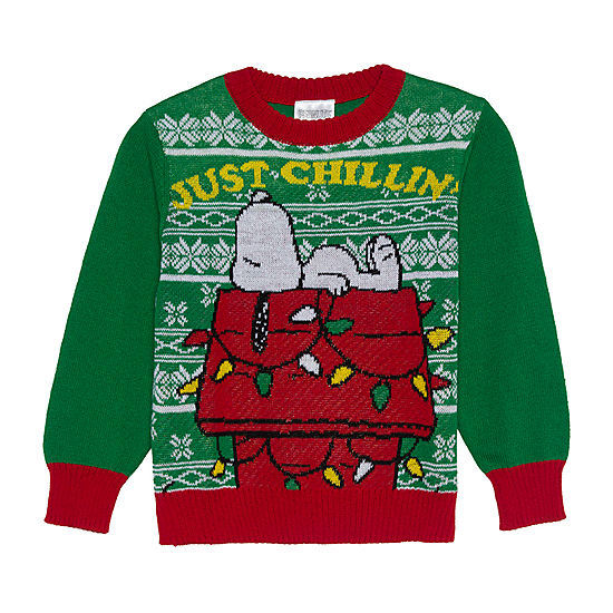 christmas crew neck long sleeve snoopy pullover sweater