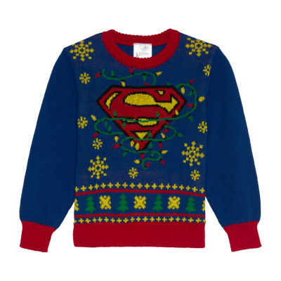 Christmas Crew Neck Long Sleeve Superman Pullover Sweater
