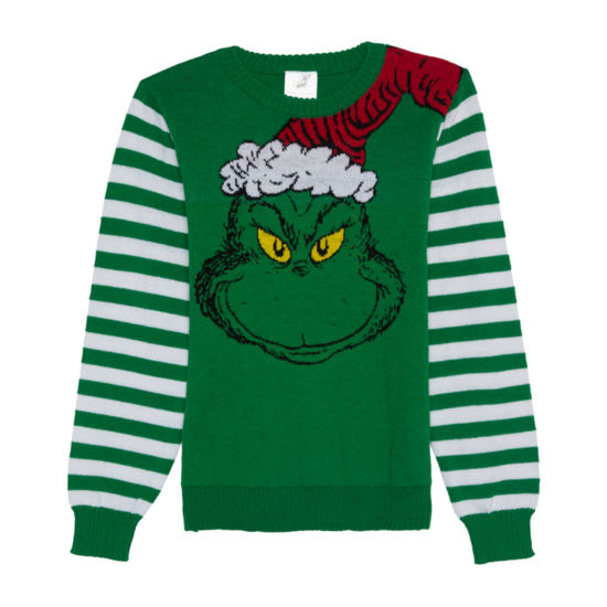 Christmas Sweaters Crew Neck Long Sleeve Grinch Pullover Sweater