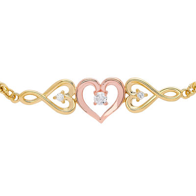 10K Gold 10K Two Tone Gold 8 Inch Hollow Rope Heart Link Bracelet