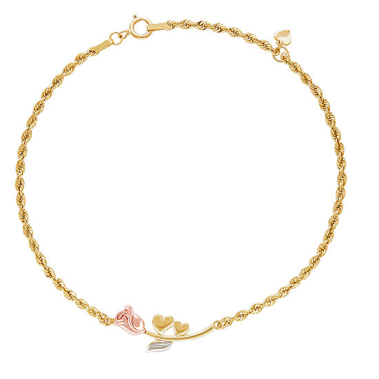 10K Two Tone Gold 8 Inch Hollow Rope Link Bracelet