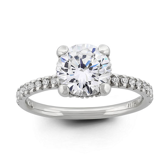 Diamonart Womens 3 1/2 CT. T.W White Cubic Zirconia Sterling Silver Round Halo Engagement Ring
