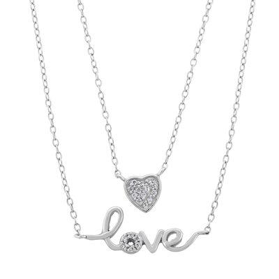Diamonart Womens 1/4 CT. T.W. White Cubic Zirconia Sterling Silver Heart Pendant Necklace