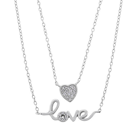 Diamonart Womens 1/4 CT. T.W. White Cubic Zirconia Sterling Silver Heart Pendant Necklace