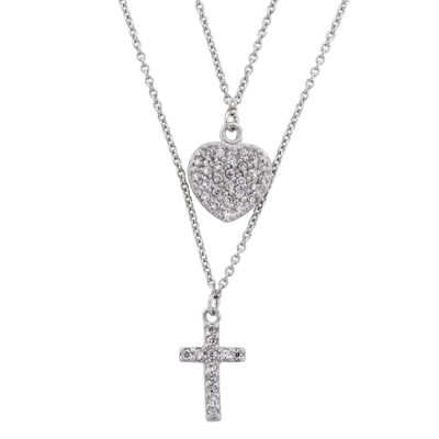 Diamonart Womens 3/4 CT. T.W. White Cubic Zirconia Sterling Silver Cross Pendant Necklace