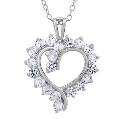 Diamonart Womens 2 3/4 CT. T.W. White Cubic Zirconia Sterling Silver Heart Pendant Necklace