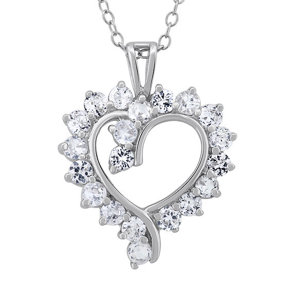 Diamonart Womens 2 3 4 Ct Tw White Cubic Zirconia Sterling Silver Heart Pendant Necklace