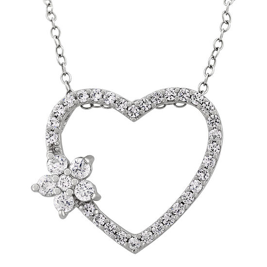 DiamonArt® Womens 1 1/6 CT. T.W.  White Cubic Zirconia Sterling Silver Heart Pendant Necklace