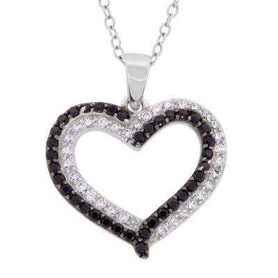 Diamonart Womens 1 1/2 CT. T.W. Cubic Zirconia Sterling Silver Heart Pendant Necklace