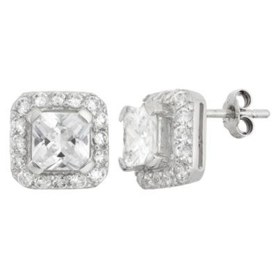 Diamonart 4 CT. T.W. White Cubic Zirconia 10mm Square Stud Earrings