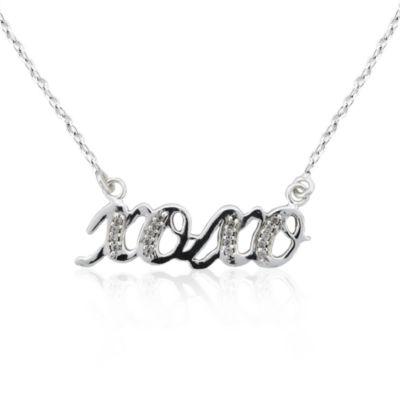 Diamonart Womens 1/5 CT. T.W. White Cubic Zirconia Sterling Silver Pendant Necklace