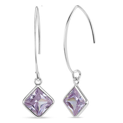 Purple Cubic Zirconia Sterling Silver Drop Earrings