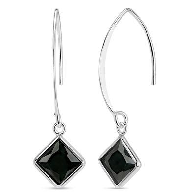 Black Cubic Zirconia Sterling Silver Drop Earrings