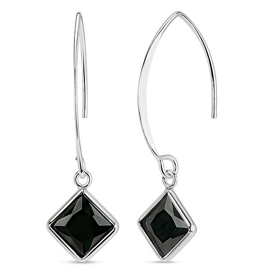 Black Cubic Zirconia Sterling Silver Drop Earrings