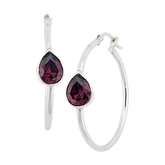 Red Cubic Zirconia Sterling Silver 34.5mm Hoop Earrings