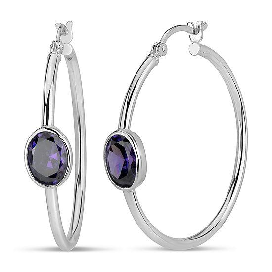 Purple Cubic Zirconia Sterling Silver 35.6mm Hoop Earrings