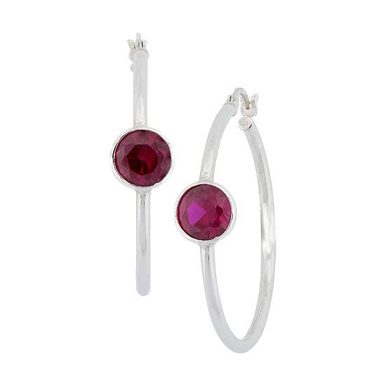 Red Cubic Zirconia Sterling Silver 35.6mm Hoop Earrings