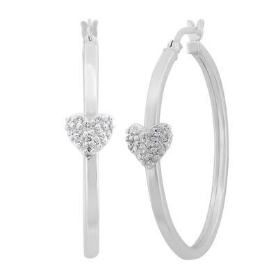 White Cubic Zirconia Sterling Silver 34.5mm Heart Hoop Earrings