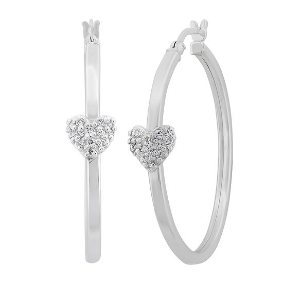 White Cubic Zirconia Sterling Silver 34.5mm Heart Hoop Earrings