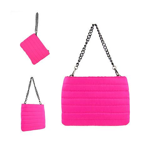 1980s Clothing, Fashion   80s Style Clothes Olivia Miller Neon Shoulder Bag One Size  Pink $24.00 AT vintagedancer.com