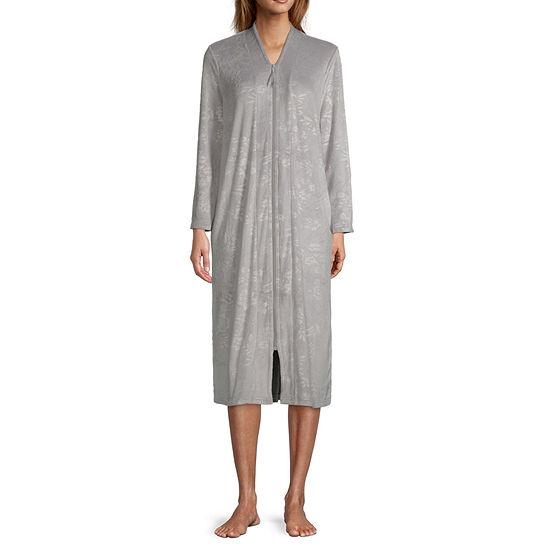 Adonna Womens-Petite Velour Long Sleeve Mid Length Robe