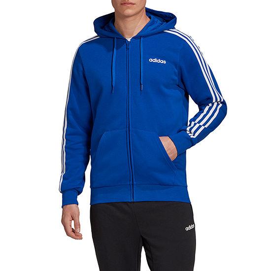 adidas-Athletic M Essential Full Zip 3 Stripe Mens Long Sleeve Hoodie