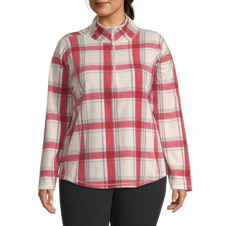 St. John's Bay Plus Womens Collar Neck Long Sleeve Quarter-Zip Pullover, 3x , Red