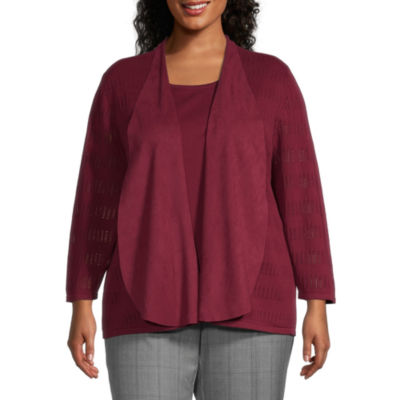 Alfred Dunner Madison Avenue Womens Round Neck Long Sleeve Layered Sweaters-Plus