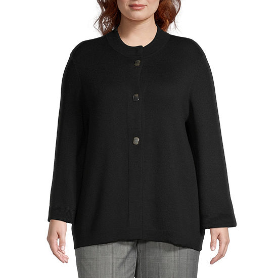 Alfred Dunner Plus Madison Avenue-Womens Long Sleeve Cardigan