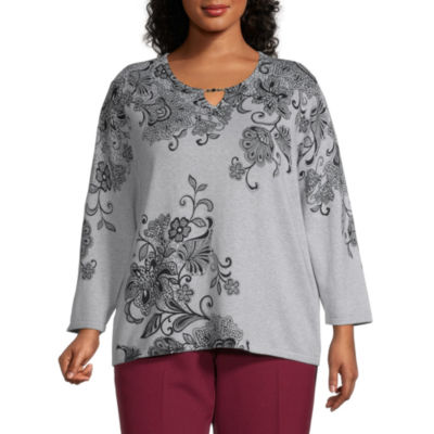 Alfred Dunner Madison Avenue Womens Key Hole Neck Long Sleeve Floral Layered Sweaters-Plus