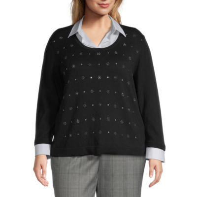 Alfred Dunner Madison Avenue Womens Collar Neck Long Sleeve Layered Sweaters-Plus