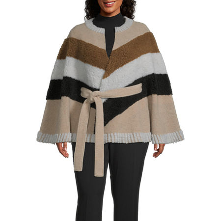 a.n.a Belted Midweight Cape-Plus, One Size Fits Most , Beige