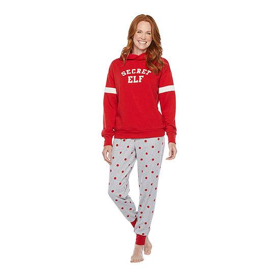 North Pole Trading Co. Tis The Varsity Season Long Sleeve Womens-Petite Pant Pajama Set 2-pc.