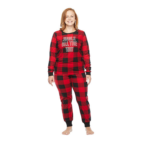 North Pole Trading Co. Buffalo Plaid Long Sleeve Womens-Petite Pant Pajama Set 2-pc.