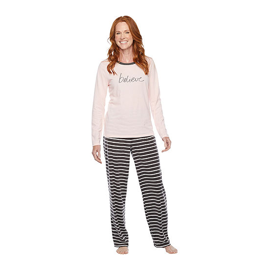 North Pole Trading Co. It's Cold Outside Long Sleeve Womens-Petite Pant Pajama Set 2-pc.