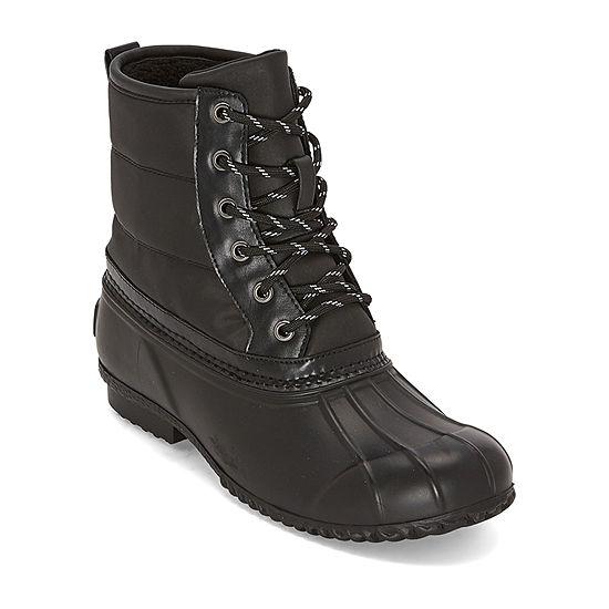St. John's Bay Womens Rhinebeck Lace Up Flat Heel  Boots