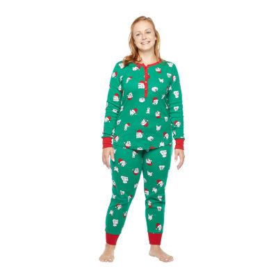 North Pole Trading Co. Happy Holidays Long Sleeve Womens-Tall Pant Pajama Set 2-pc.