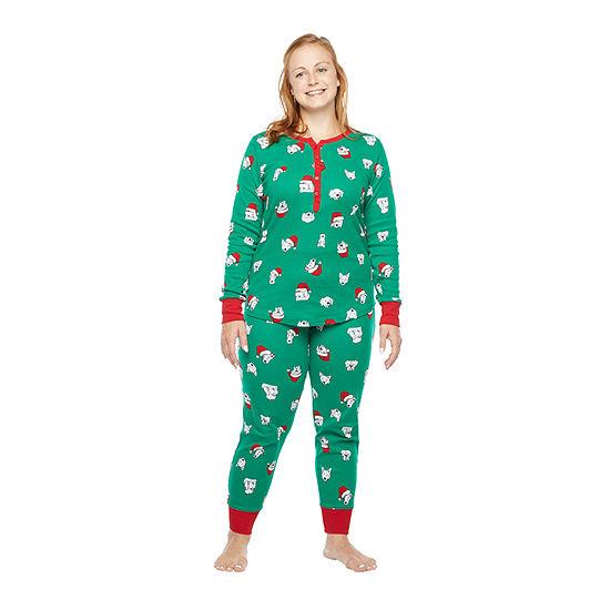 North Pole Trading Co. Happy Holidays Long Sleeve Womens-Petite Pant Pajama Set 2-pc.