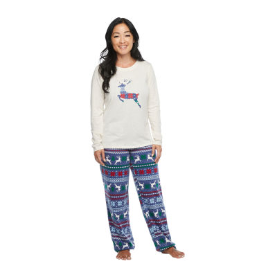 North Pole Trading Co. Fairisle Long Sleeve Womens-Tall Pant Pajama Set 2-pc.