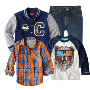jcpenney.com | Arizona Raglan Tee, Button-Front Shirt, Jeans or Varsity Jacket - Boys