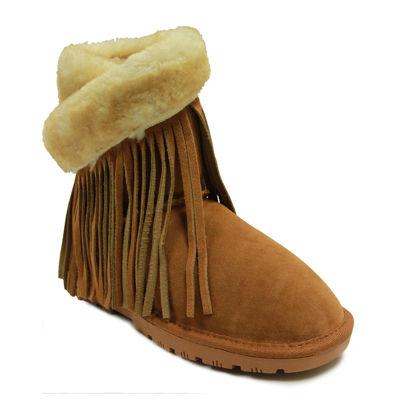 Lamo Fringe Suede Wrap Boots
