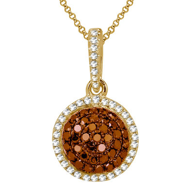 LIMITED QUANTITIES 1/3 CT. T.W. White and Color-Enhanced Cognac Diamond Pendant Necklace