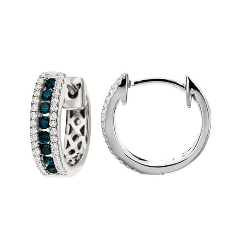 CLOSEOUT! 1/4 CT. T.W. White and Color-Enhanced Blue Diamond Hoop Earrings
