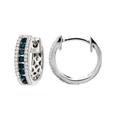 LIMITED QUANTITIES! 1/4 CT. T.W. White and Color-Enhanced Blue Diamond Hoop Earrings