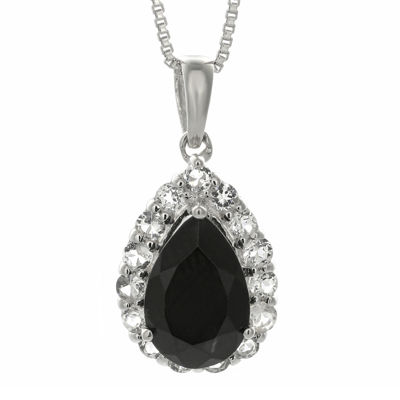 Pear-Shaped Genuine Black Onyx and White Topaz Pendant Necklace