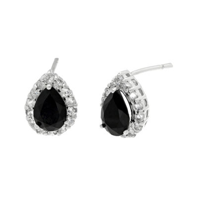 Pear-Shaped Genuine Black Onyx and White Topaz Pendant Earrings