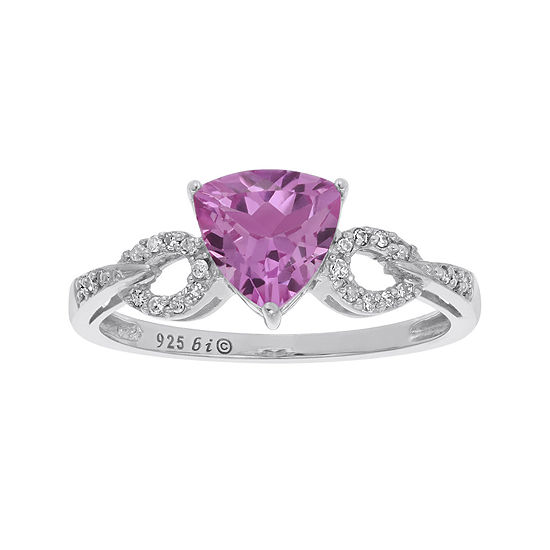 945621fce Lab-Created Pink Sapphire and Diamond-Accent Sterling Silver Ring - JCPenney